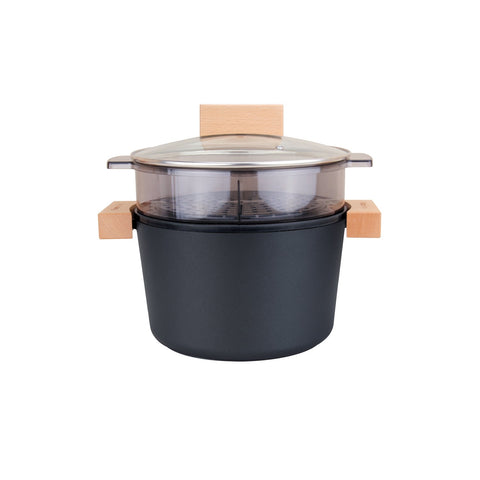 Greblon C2 Non-Stick Coated Die-Cast Aluminum Round Casserole Pan & Steamer with Wood Moulding Handle