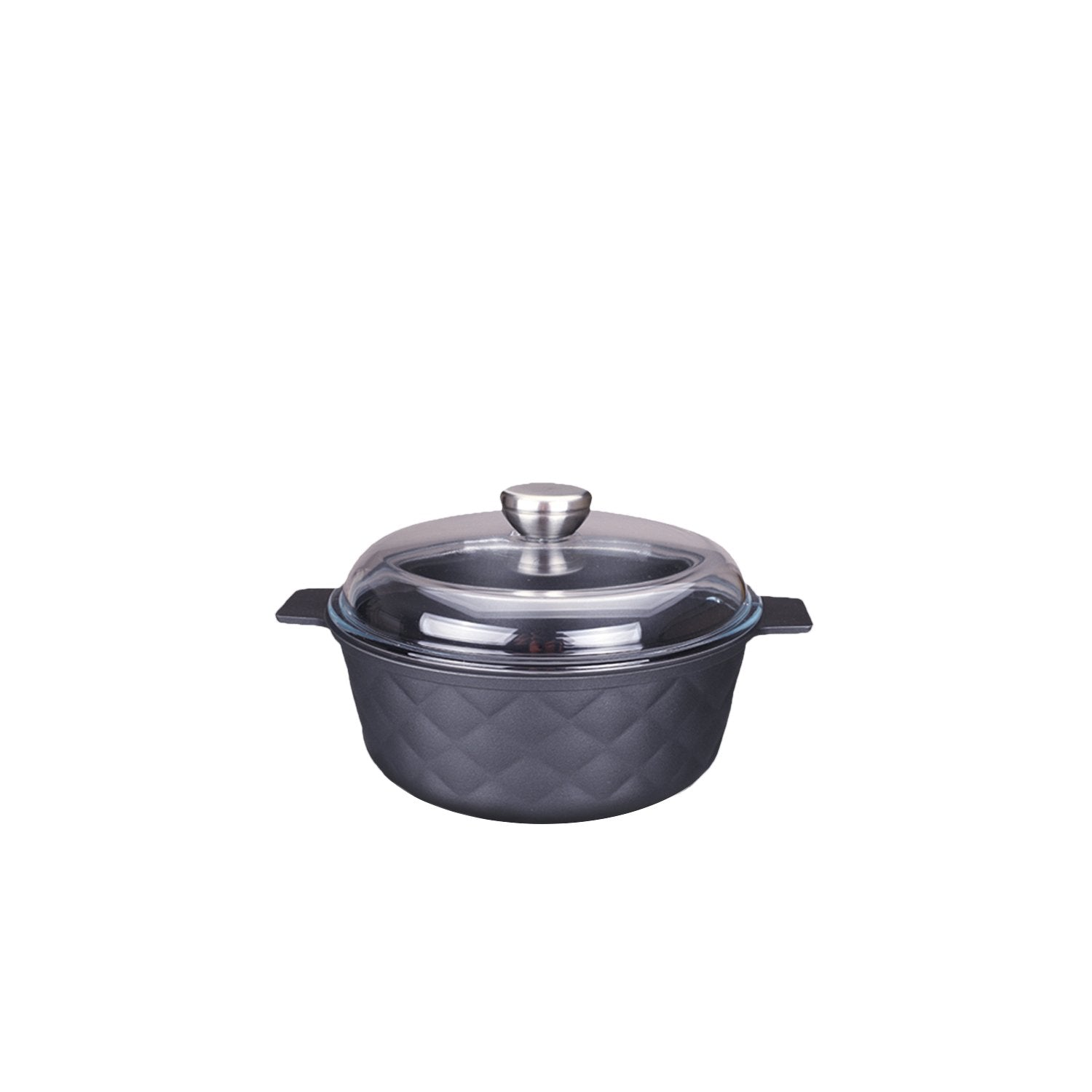 Aluminum Greblon C2 Non-Stick Heat Resistant Coating Full Induction Cassarole Pan with Glass Lid