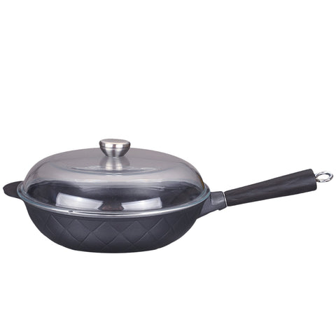 12.5-inch Aluminum Greblon C2 Non-Stick Heat Resistant Coating Full Induction Wok Pan with Glass Lid