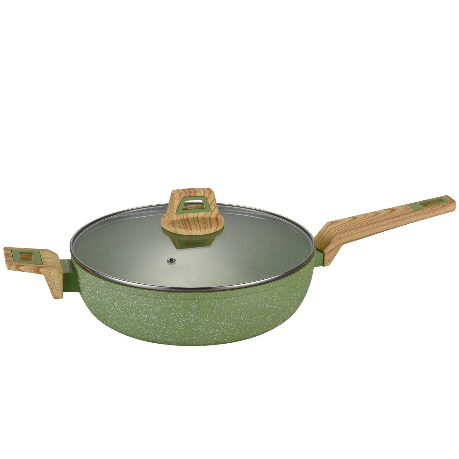 bpa free 11-Inch Non-Stick Coated Forged Aluminum Induction Friendly Round Saute Pan with Glass Lid - Avocado Green