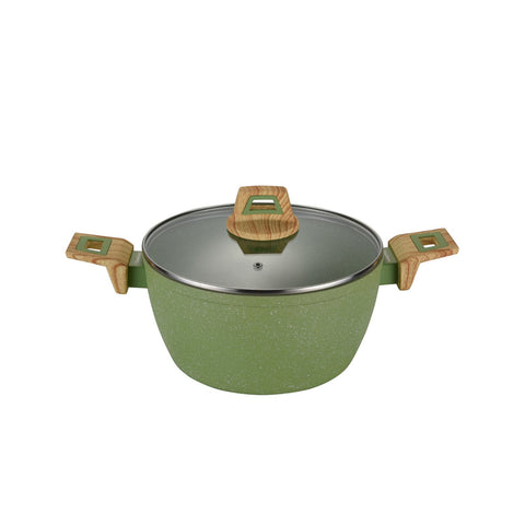 Non-Stick Coated Forged Aluminum Induction Friendly Round Casserole Pan with Glass Lid - Avocado Green