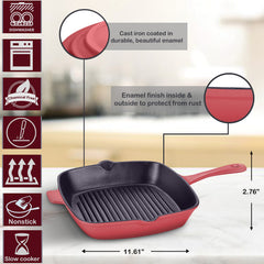 10-Inch Cast Iron Full Painted Cream Enamelled Square Open Frying Grill Pan