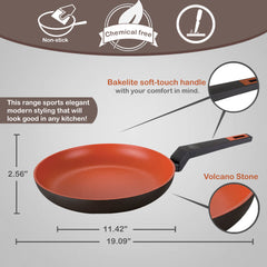 Rough Non-Stick Coated Forged Aluminum Induction Friendly Round Open Fry Pan - Volcano Stone