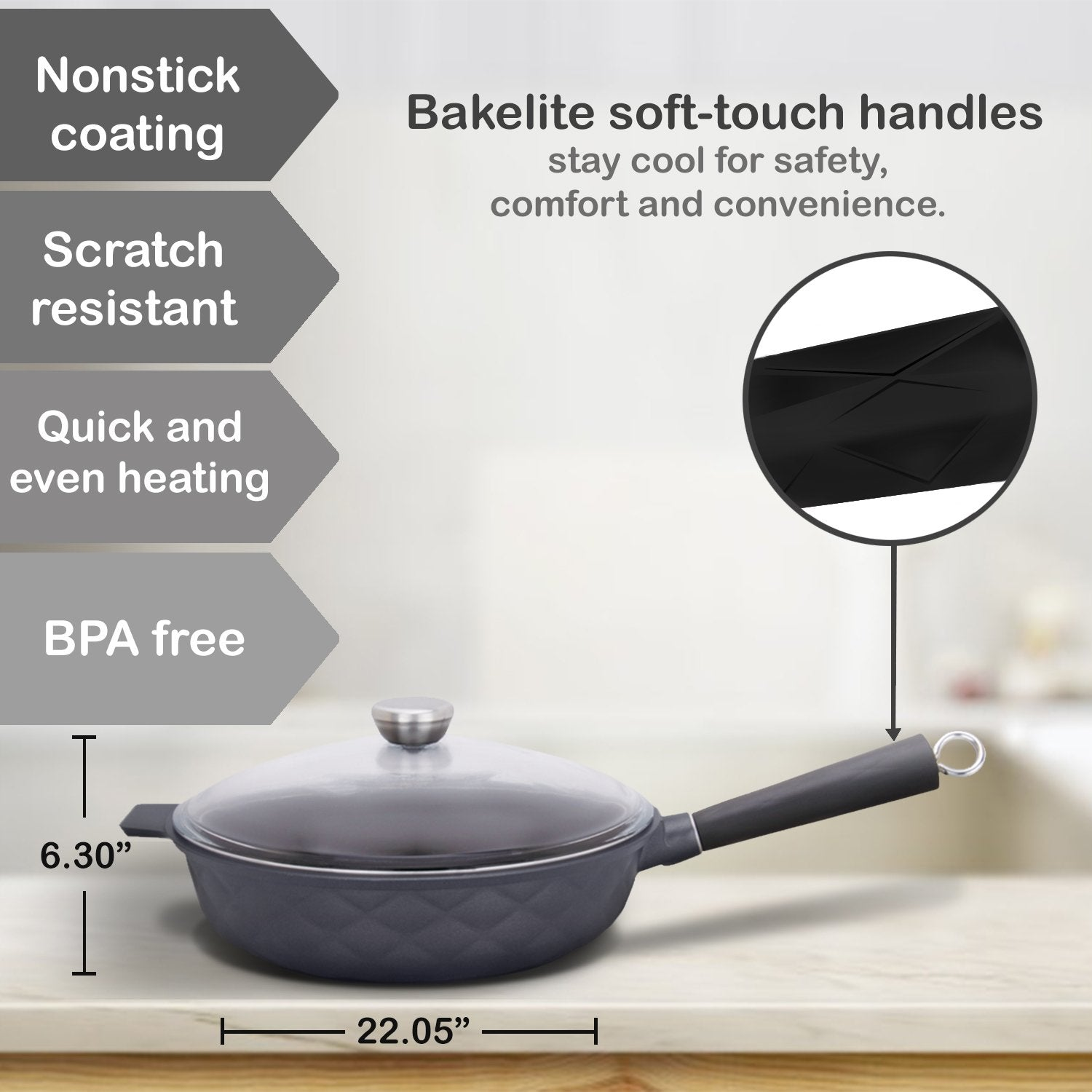 11.8-in Aluminum Greblon C2 Non-Stick Heat Resistant Coating Full Induction Saute Pan with Glass Lid