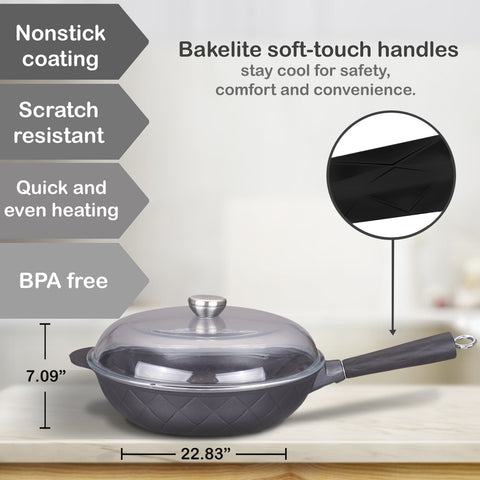 Aluminum Greblon C2 Non-Stick Heat Resistant Coating Full Induction Wok Pan with Glass Lid