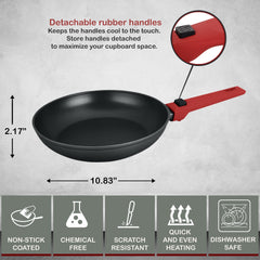 Greblon C2+ Non-Stick Coated Scratch Resistant Forged Aluminum Round Fry Pan with Detachable Handle