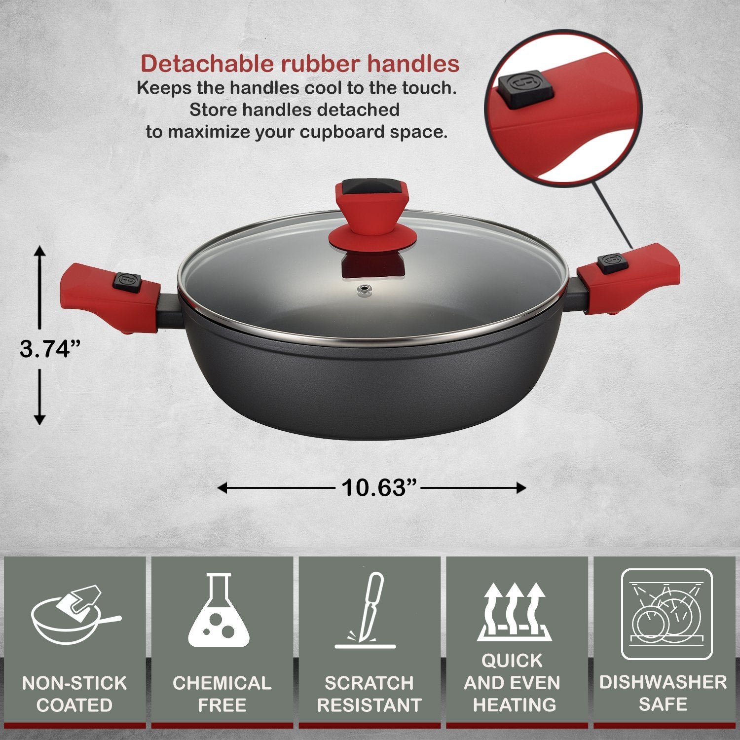 Greblon C2+ Non-Stick Coated Forged Aluminum Round 4.5 L Low Casserole Pan & Glass Lid with Detachable Handle - 10 Inch