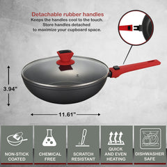 Greblon C2+ Non-Stick Coated Scratch Resistant Forged Aluminum Round Wok & Lid with Detachable Handle - 11 inch