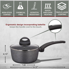2 Layers Non-Stick Bakelite Soft Touch Pressed Aluminum Round Sauce & Glass Lid with Induction Bottom