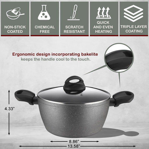2 Layers Non-Stick Bakelite Soft Touch Pressed Aluminum Casserole & Glass Lid with Induction Bottom