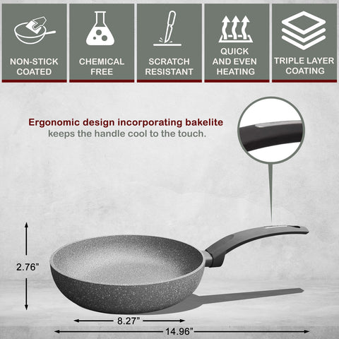 2 Layers Non-Stick Bakelite Soft Touch Pressed Aluminum Round Deep Fry Pan / Skillet with Induction Bottom -