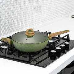 Non-Stick Coated Forged Aluminum Induction Friendly Round Saute Pan with Glass Lid - Avocado Green
