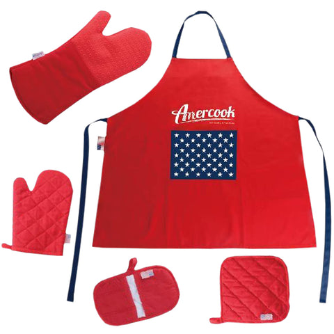 BBQ Chef Apron with Glove Set for Kitchen - Cotton