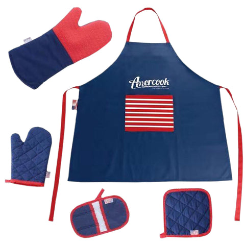 Heat-Resistant Non-Slip Cotton BBQ Grilling Cooking Oven Mitt Glove Set