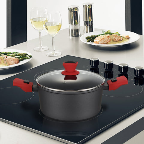 Greblon C2+ Non-Stick Coated Forged Aluminum Round 3/5/6.5 L Capacity Casserole Pan & Glass Lid with Detachable Handle