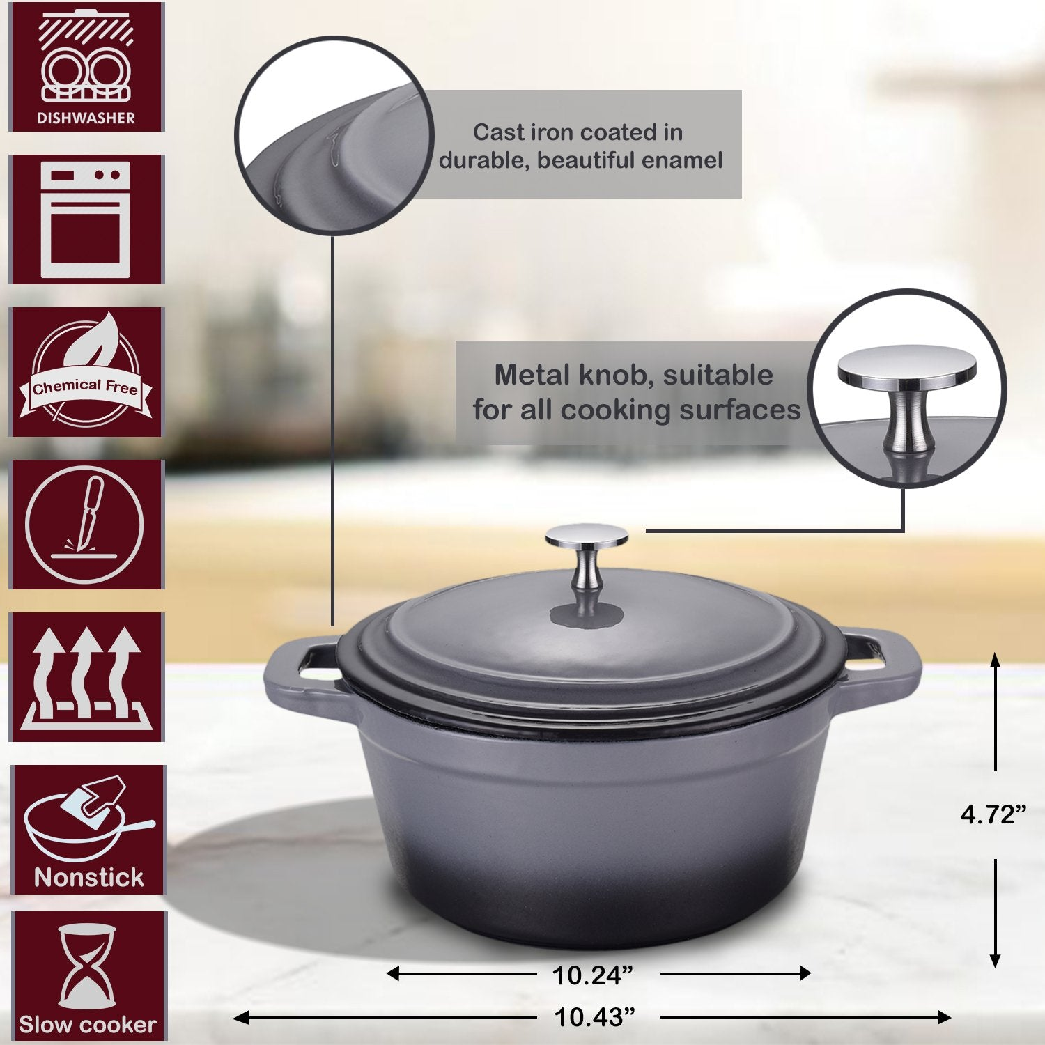Cast Iron Full Painted Cream Enamelled Round Casserole Pan with Lid - 3.3 L Capacity