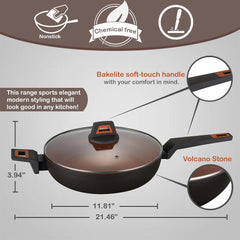 Rough Non-Stick Coated Forged Aluminum Induction Friendly Round Wok Pan - Volcano Stone