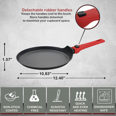 Greblon C2+ Non-Stick Coated Scratch Resistant Forged Aluminum Round Crepe Pan with Detachable Handle