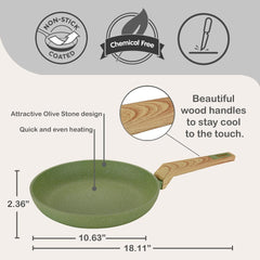 Non-Stick Coated Forged Aluminum Induction Friendly Round Fry Pan - Avocado Green