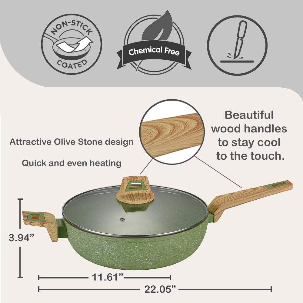 nonstick 11-Inch Non-Stick Coated Forged Aluminum Induction Friendly Round Saute Pan with Glass Lid - Avocado Green