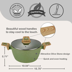 NO CORROSION Non-Stick Coated Forged Aluminum Induction Friendly Round Casserole Pan with Glass Lid - Avocado Green