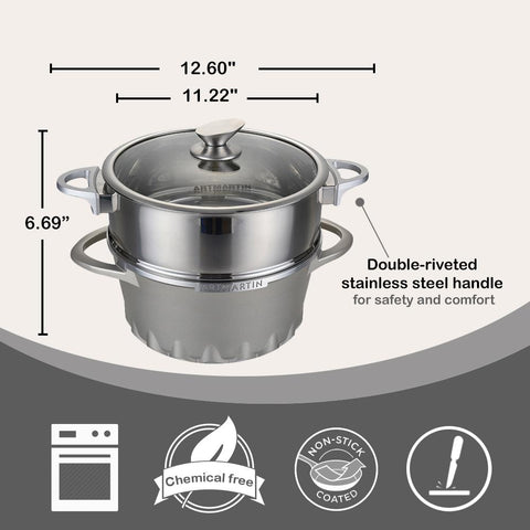 Non-Stick Ceramic Coated Die-Cast Aluminum Round Casserole Pot & Steamer with Induction Bottom - 10 inch