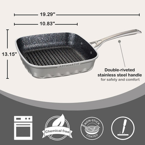 Non-Stick Ceramic Coated Die-Cast Aluminum Square Grill Pan with Induction Bottom - 10