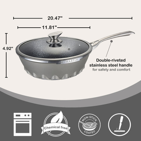 Non-Stick Ceramic Coated Die-Cast Aluminum Round Wok & Lid with Induction Bottom