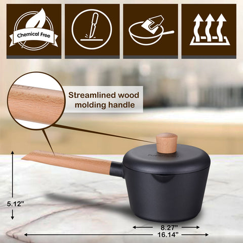 Greblon C2 Non-Stick Coated Die-Cast Aluminum Round Induction Sauce Pan & Lid with Wood Moulding Handle
