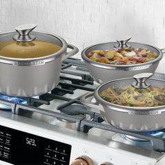 Non-Stick Ceramic Coated Die-Cast Aluminum Round Casserole & Lid with Induction Bottom - 8.7 inch