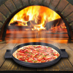 Greblon C2 Non-Stick Coated Die-Cast Aluminum Round Induction Friendly Pizza Pan with Wood Moulding Handle