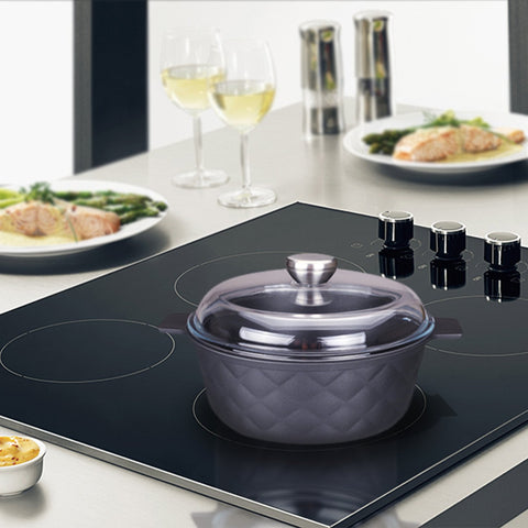9.5-in Aluminum Greblon C2 Non-Stick Heat Resistant Coating Full Induction Cassarole Pan with Glass Lid