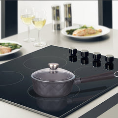Aluminum Greblon C2 Non-Stick Heat Resistant Coating Full Induction Low Sauce Pan with Glass Lid