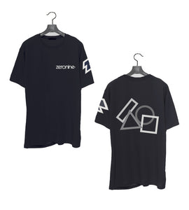 Black - Zeronine Geo Cluster Reflective Short Sleeve Soft Tee: 100% Combed Ringspun Cotton