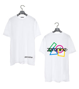 White - Zeronine Geo Cluster Logo Short Sleeve Soft Tee: 100% Combed Ringspun Cotton