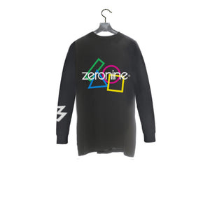 Black / Front - Zeronine Geo Cluster Logo Long Sleeve Soft Tee: 100% Combed Ringspun Cotton