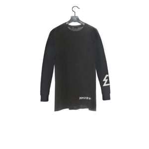 Black / Back - Zeronine Geo Cluster Logo Long Sleeve Soft Tee: 100% Combed Ringspun Cotton