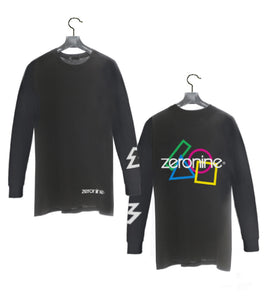 Black - Zeronine Geo Cluster Logo Long Sleeve Soft Tee: 100% Combed Ringspun Cotton