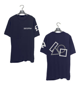 Navy - Zeronine Geo Cluster Reflective Short Sleeve Soft Tee: 100% Combed Ringspun Cotton
