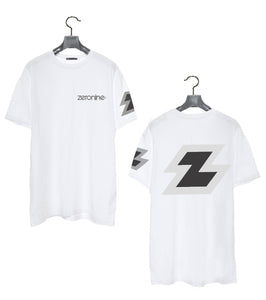 White - Zeronine Reflective Big Z Short Sleeve Soft Tee: 100% Combed Ringspun Cotton