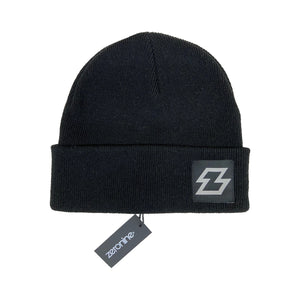 "Black Zeronine Z Beanie: 10"" Hat, Soft Cashmere feel"