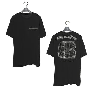 Black - Zeronine Numbers Short Sleeve Soft Tee: 100% Combed Ringspun Cotton