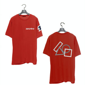 Red - Zeronine Geo Cluster Reflective Short Sleeve Soft Tee: 100% Combed Ringspun Cotton