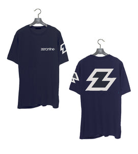 Navy - Zeronine Reflective Big Z Short Sleeve Soft Tee: 100% Combed Ringspun Cotton