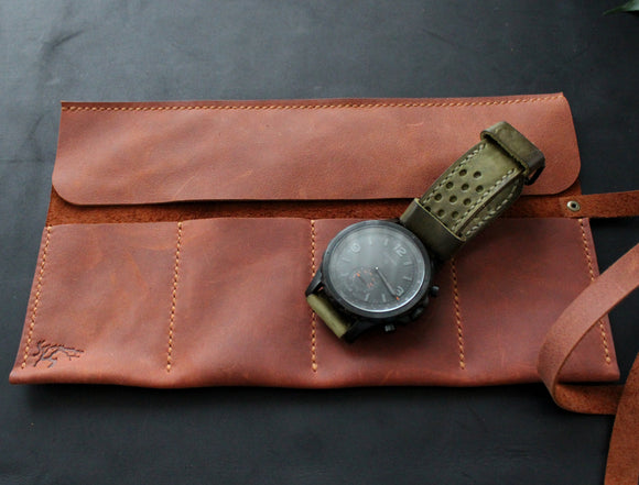 Leather watch roll Brick brown - Anger Refuge
