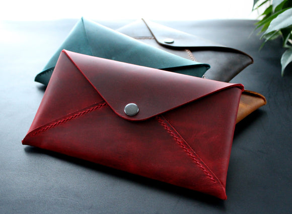Leather Cash Envelope Wallet, Long Wallet, Petite Leather Clutch, Slim Cash Organizer, Cash Envelope, Leather Envelope Document Organizer