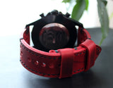 Watch strap Ruby red perforated - Anger Refuge
