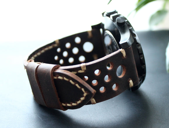 Real Leather Watch Strap Coffee beige Men's Watch band 22mm 24mm 26mm Custom size Rally perforated Strap