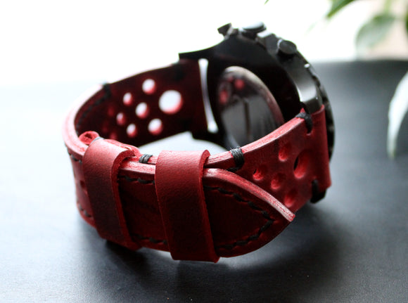 Real Leather Watch Strap Ruby red Men's Leather Watch band 22mm 24mm 26mm Custom size Rally perforated strap