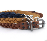 Genuine Leather Braided dog collar - Anger Refuge